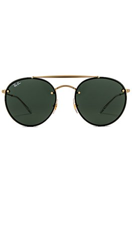 Ray-Ban Blaze Double Bridge in Demi Gloss Gold & Dark Green | REVOLVE