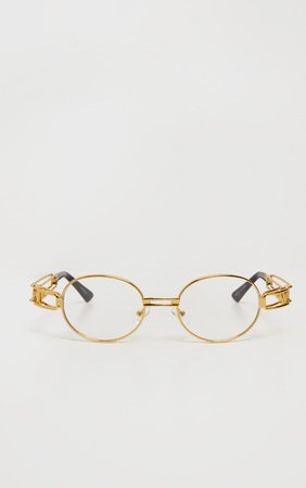 Gold Trim Clear Round Frame Glasses | PrettyLittleThing