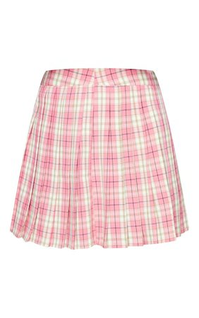 Pink Woven Check Pleated Tennis Skirt | PrettyLittleThing