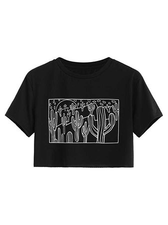 SweatyRocks Women's Cactus Print Crop Top Summer Short Sleeve Graphic T-Shirts (Large, Pink) at Amazon Women's Clothing store: