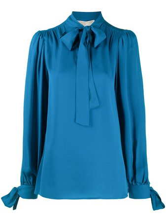 Shop blue Michael Kors silk pussybow blouse with Express Delivery - Farfetch