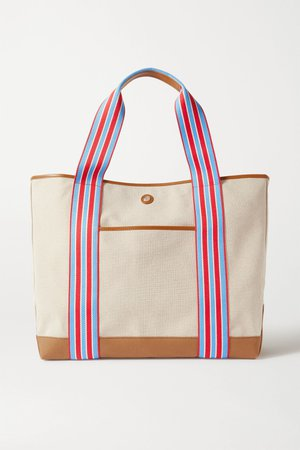 Neutral Cabana leather and grosgrain-trimmed canvas tote | Paravel | NET-A-PORTER