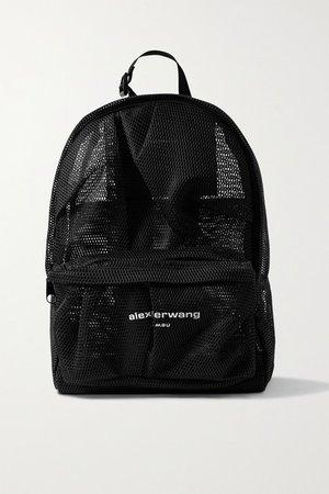 Wangsport Ruched Printed Mesh Backpack - Black