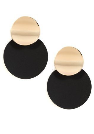 Elegance Golden and Black Statement Earrings - Happiness Boutique