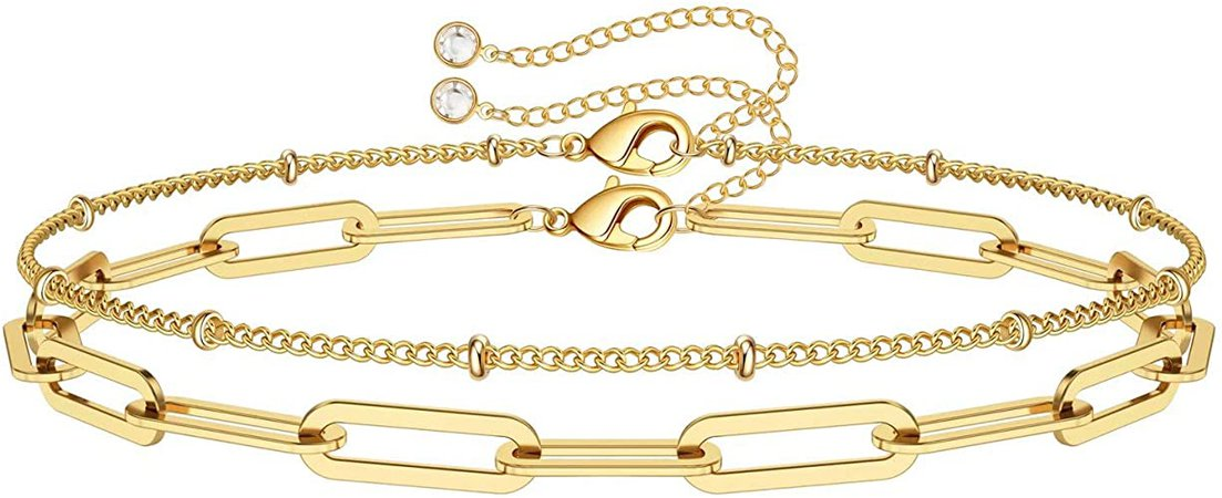 Amazon.com: Dainty Layered Bracelets for Women, 14K Gold Filled Adjustable Layering Oval Chain Bracelet Cute Gold Layered Bead Chain Bracelets for Women Jewelry(Oval Chain & Bead Chain): Clothing