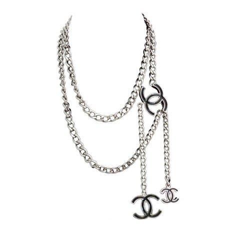 Chanel 00V Silver Chain Belt w Black Enamel CC | HushHush.com