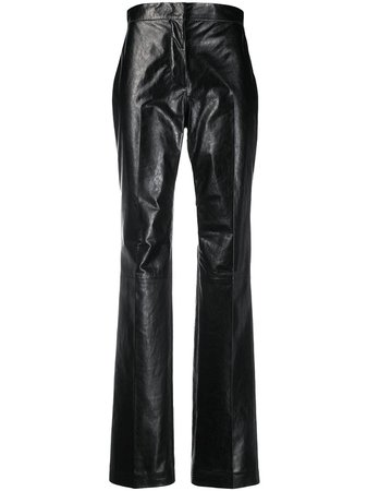 Acne Studios Straight-Leg Leather Trousers Ss20   Farfetch.com