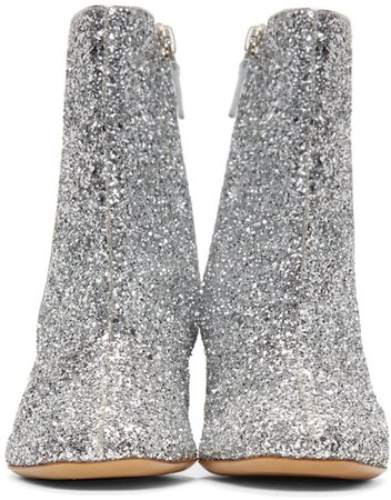 Mansur Gavriel: Silver Glitter Boots | SSENSE
