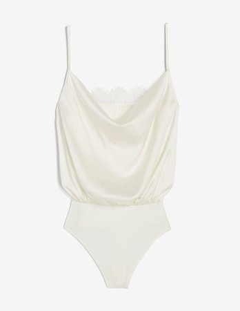 Lace Cowl Neck Thong Bodysuit | Express