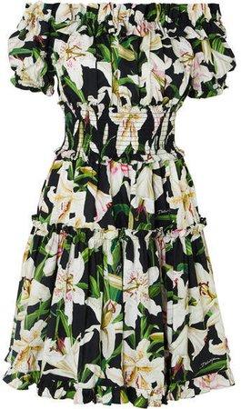 Off-the-shoulder Ruffled Floral-print Cotton-poplin Dress - Black