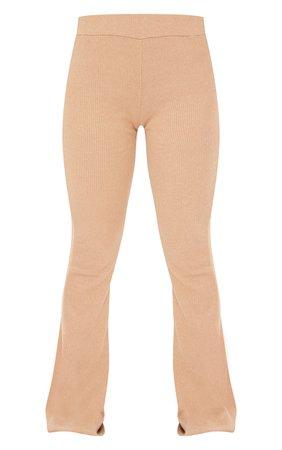 Camel Soft Rib High Waist Flared Trousers | PrettyLittleThing USA