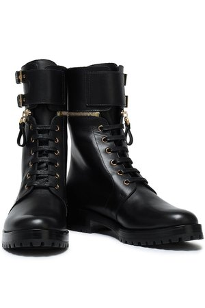 Black Zip-detailed buckled leather ankle boots | Sale up to 70% off | THE OUTNET | SERGIO ROSSI | THE OUTNET