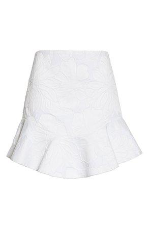 Alice + Olivia Eriko Jacquard Ruffle Hem Cotton Blend Skirt white