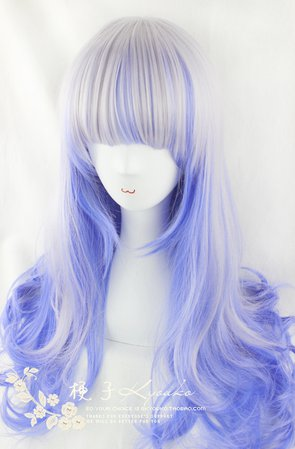 65cm Silver Blue Highlighted Blend Lolita Curly Wig