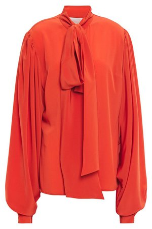 Tomato red Pussy-bow crepe de chine blouse | Sale up to 70% off | THE OUTNET | ANTONIO BERARDI | THE OUTNET