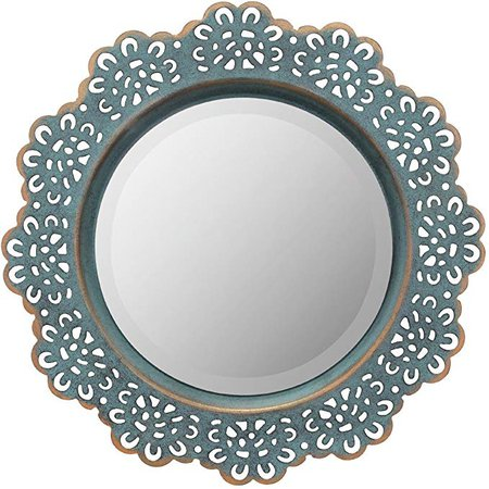 Stonebriar Decorative Metal Lace Mirror with Attached Wall Hanger, Turquoise with Brass Highlights, Elegant Home Decor: Amazon.ca: Home & Kitchen