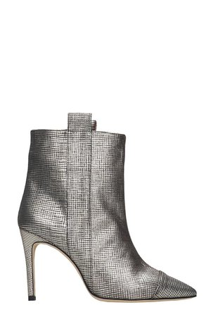 Bams High Heels Ankle Boots In Gold Leather