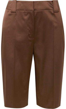 Silk-blend Satin Shorts - Brown