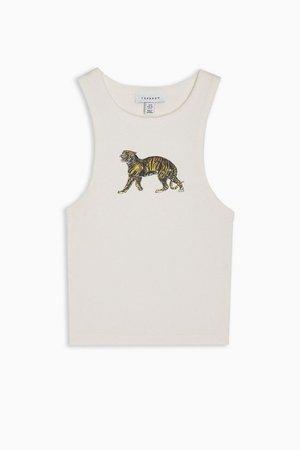 Walking Tiger Crop Vest in White | Topshop
