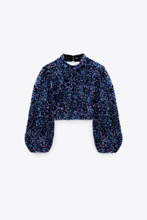 SEQUIN CROPPED TOP   ZARA United States MULTICOLORED