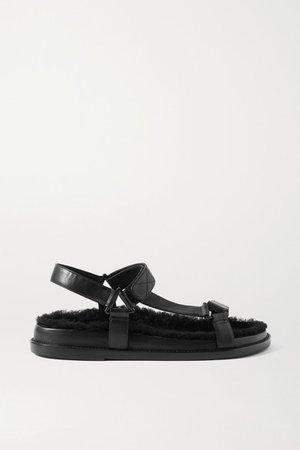 Shearling-lined Leather Sandals - Black