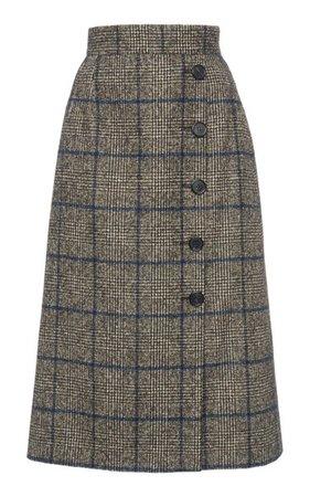 Plaid High-Rise Wool-Blend Skirt By Dolce & Gabbana   Moda Operandi