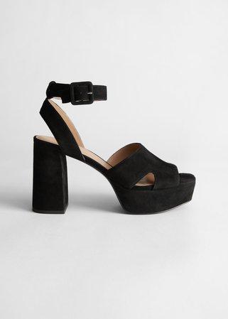 Suede Heeled Platform Sandals - Black - Heeled sandals - & Other Stories