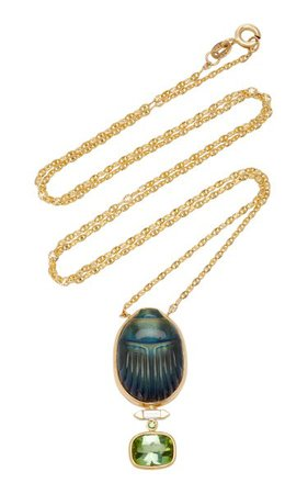 Scarab 14k Yellow-Gold Labradorite Pendant Necklace By Lito   Moda Operandi