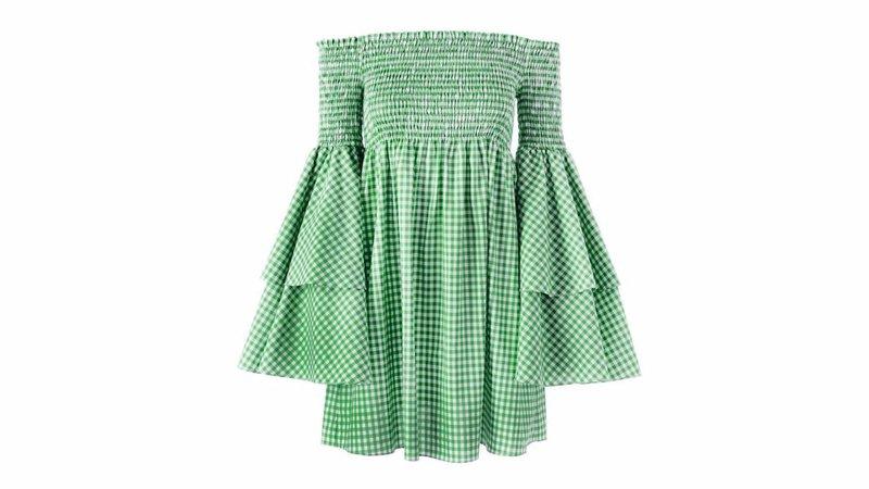 gingham green ruffle dress top