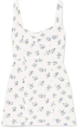 Fairfax Floral-print Crepe Mini Dress - Ecru