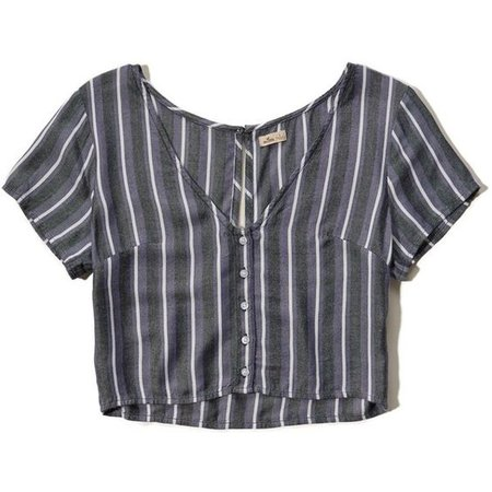 Hollister Button-Front Cropped T-Shirt