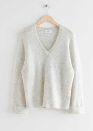 Oversized V-Neck Ribbed Sweater - White - Sweaters - & Other Stories