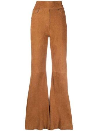 STAND STUDIO wide-leg suede trousers - FARFETCH