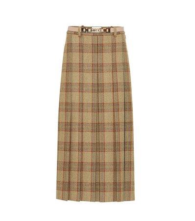 Checked wool skirt