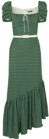 Belted Asymmetric Crocheted Cotton Dress - Green