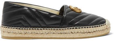 Pilar Logo-embellished Quilted Leather Espadrilles - Black