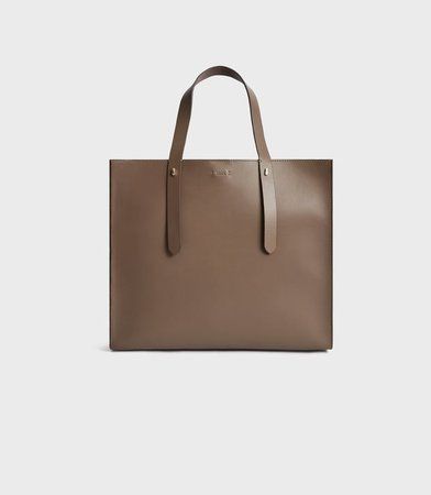 Swaby Mid Grey Leather Tote Bag – REISS