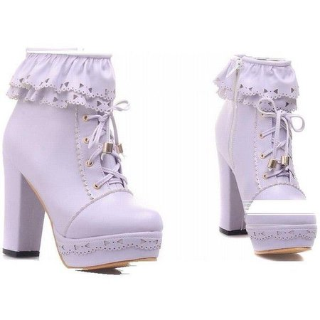 Lilac Lace Trimmed Lolita Ankle Heel Boots