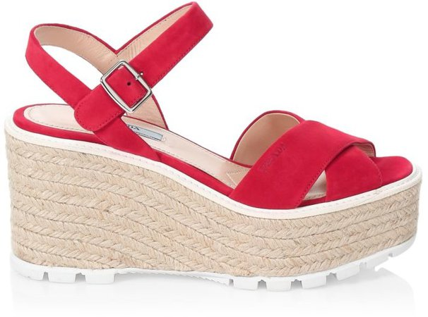 Raffia & Suede Lug-Sole Wedge Sandals