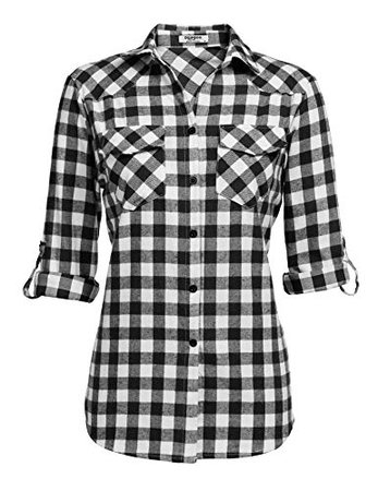 Zeagoo Womens Flannels Long/Roll Up Sleeve Plaid Shirts Cotton Check Gingham Top S-3XL at Amazon Women's Clothing store: