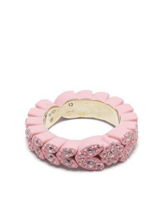 Shop Bottega Veneta Soft crystal-embellished ring with Express Delivery - FARFETCH