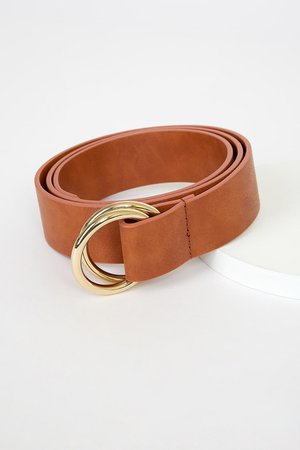 Tan and Gold Belt - Double Buckle Belt - Faux Leather Belt - Lulus