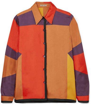 Printed Silk-faille Shirt - Orange