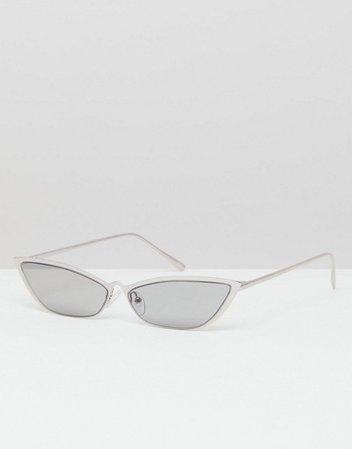ASOS DESIGN narrow sunglasses in silver metal | ASOS