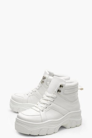 Lace Up Chunky High Top Sneakers | Boohoo