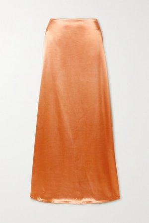 Satin Maxi Skirt - Peach