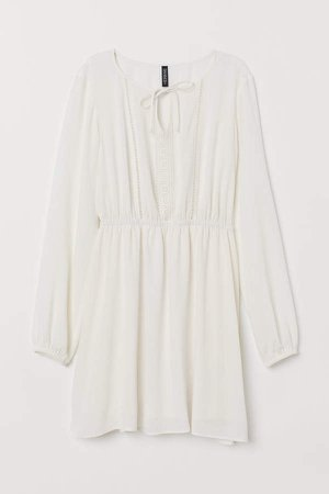 Dress with Lace Trim - White