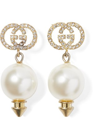 Gucci | Gold-tone, faux pearl and crystal earrings | NET-A-PORTER.COM