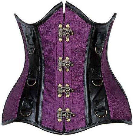 Curvy Cut black and Purple steel boned corset // goodgoth