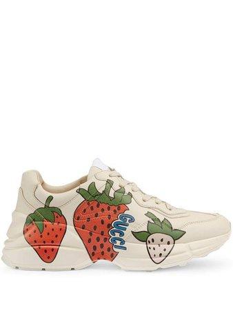 Gucci Rhyton Strawberry Sneakers - Farfetch